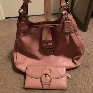 Pink Coach purse with wallet